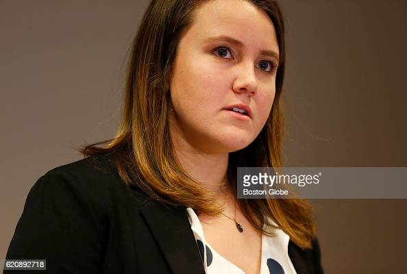 Northeastern University student Morgan Helfman speaks during a press conference at her lawyer's office in Boston on Nov 3 2016 Helfman says...
