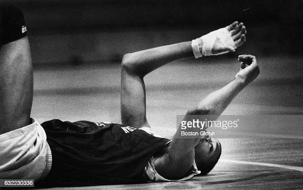 Northeastern University's Reggie Lewis is pictured during a basketball practice in Boston on Mar 2 1987