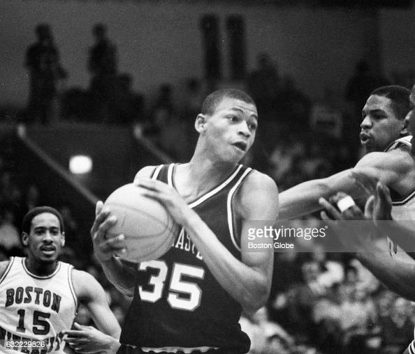 Northeastern University's Reggie Lewis is pictured in action during a men's college basketball game against Boston University in Boston on Feb 8 1986