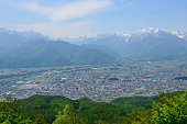 Northern Alps and the City of Omachi in Nagano, Japan