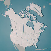 3D Render of a Country Map of Northern America with the Administrative Divisions. Made with Natural Earth.  https://www.naturalearthdata.com/downloads/10m-cultural-vectors/ All source data is in the p