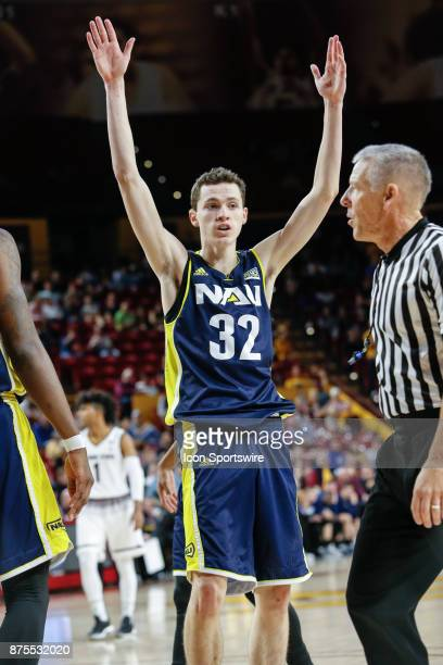 Northern Arizona Lumberjacks guard Chris Bowling pleads with a referee during the college basketball game between the Northern Arizona Lumberjacks...