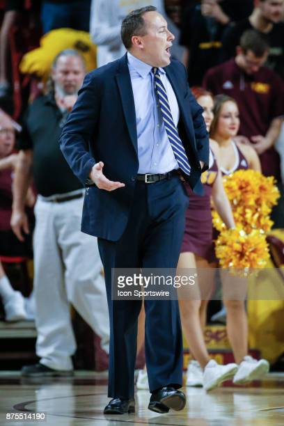 Northern Arizona Lumberjacks head coach Jack Murphy argues with a referee during the college basketball game between the Northern Arizona Lumberjacks...