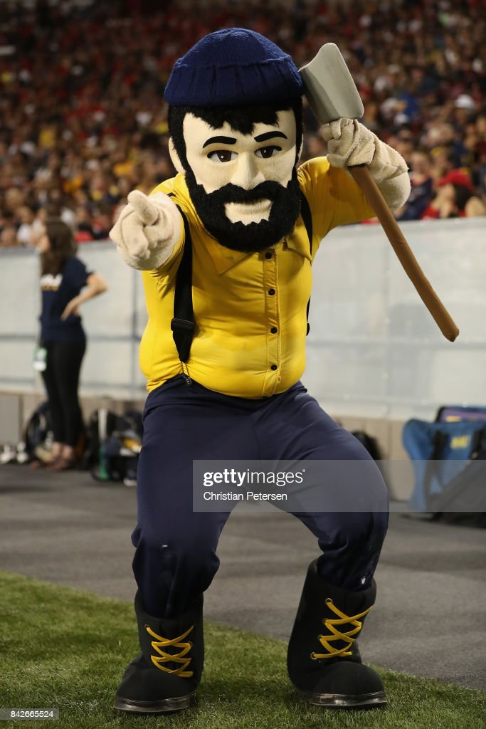 Northern Arizona Lumberjacks mascot, 'Louie the Lumberjack' performs during the college football game against the Arizona Wildcats at Arizona Stadium on September 2, 2017 in Tucson, Arizona.