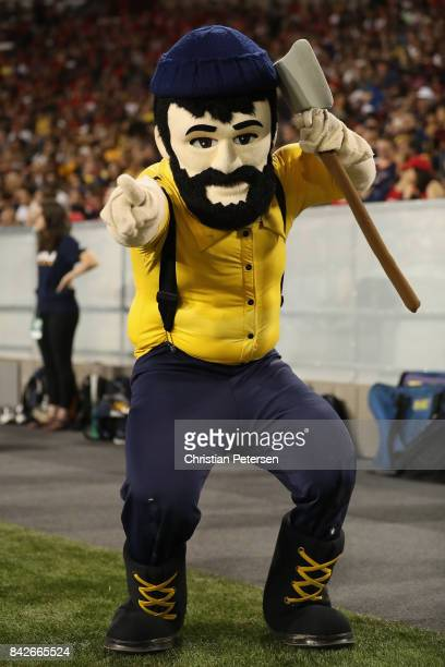 Northern Arizona Lumberjacks mascot 'Louie the Lumberjack' performs during the college football game against the Arizona Wildcats at Arizona Stadium...