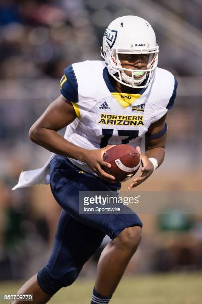Northern Arizona Lumberjacks quarterback Stone Smartt turns to hand off the ball during the game between the Northern Arizona Lumberjacks and the Cal...