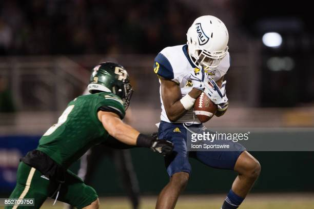Northern Arizona Lumberjacks wide receiver Elijah Marks makes a catch during the game between the Northern Arizona Lumberjacks and the Cal Poly...