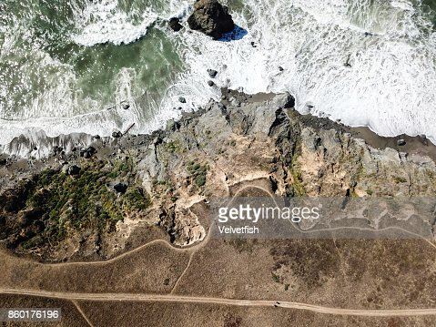 Northern California Coastline Aerial View : Stock Photo
