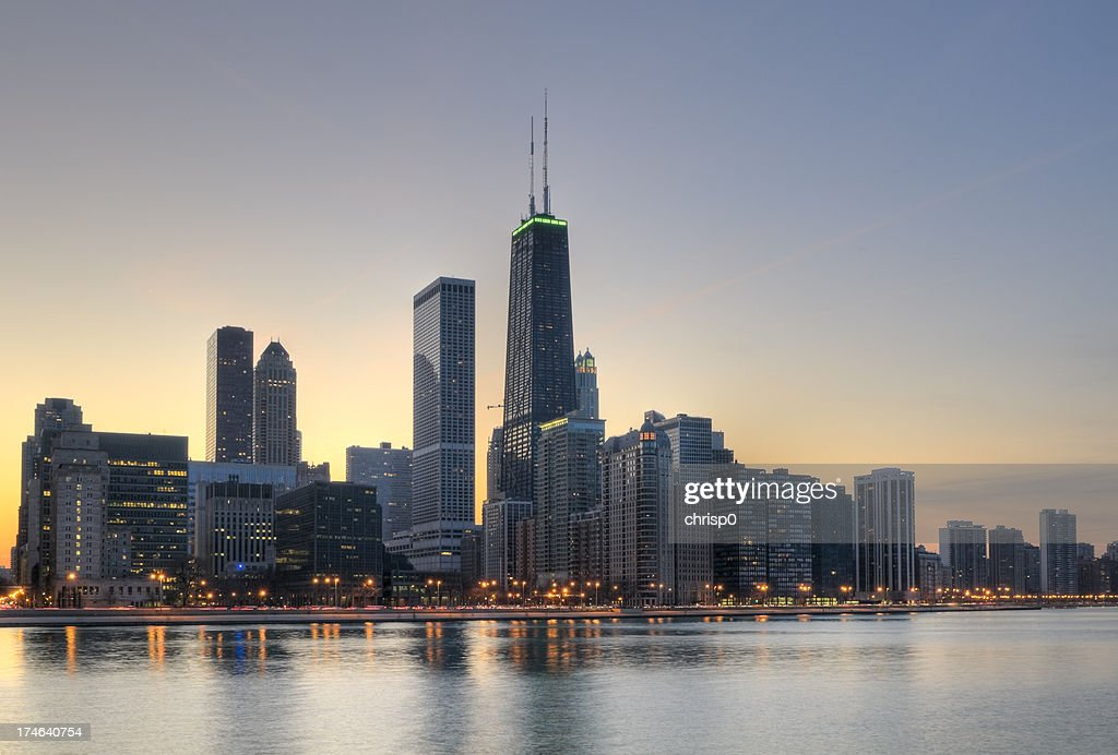 Northern Chicago Skyline at Sunset : Stock Photo