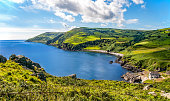 Northern coast, a bay and a small harbor in County Antrim, Northern Ireland, UK