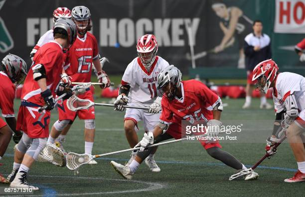 Northern defender Bryce Howard scoops up the ball against Glenelg during the Maryland State 3A/2A lacrosse championship game on May 23 2017 in...