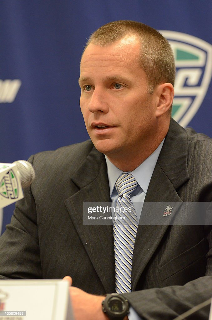 Northern Illinois Huskies head coach <a gi-track='captionPersonalityLinkClicked' href=/galleries/search?phrase=Dave+Doeren&family=editorial&specificpeople=3913248 ng-click='$event.stopPropagation()'>Dave Doeren</a> looks on during the MAC Championship game press conference the evening before the game against the Ohio Bobcats at Ford Field on December 1, 2011 in Detroit, Michigan.