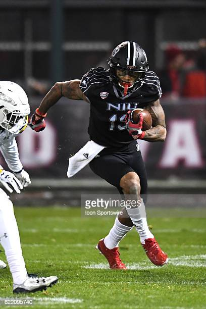 Northern Illinois Huskies wide receiver Kenny Golladay gains yardage in the first half during a MidAmerican Conference football game between the...
