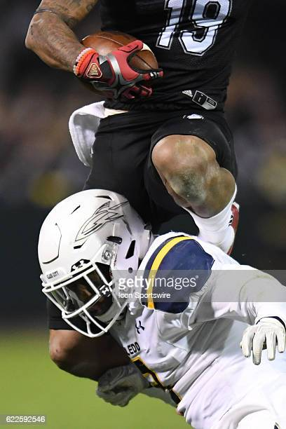 Northern Illinois Huskies wide receiver Kenny Golladay jumps with the ball in the second half during a MidAmerican Conference football game between...