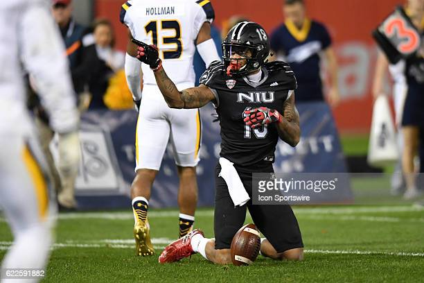 Northern Illinois Huskies wide receiver Kenny Golladay reacts in the first half during a MidAmerican Conference football game between the Toledo...