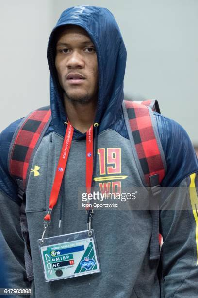 Northern Illinois wide receiver Kenny Golladay answers questions from members of the press during the NFL Scouting Combine on March 3 2017 at Lucas...