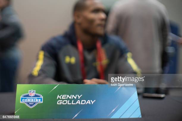 Northern Illinois wide receiver Kenny Golladay gives an interview to members of the press during the NFL Scouting Combine on March 3 2017 at Lucas...