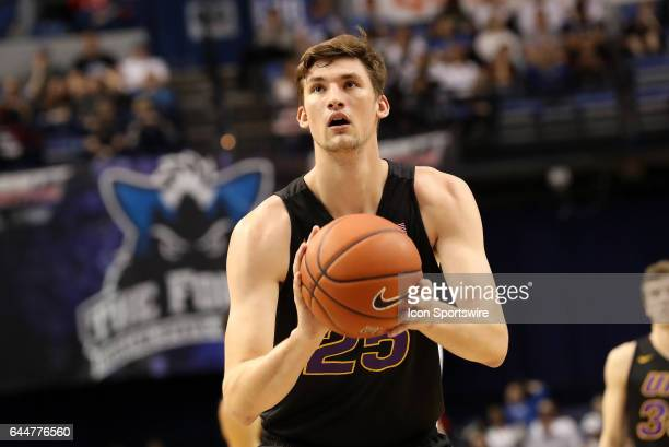 Northern Iowa Panthers forward Bennett Koch shoots a free throw during the Missouri Valley Conference game against the Indiana State Sycamores on...