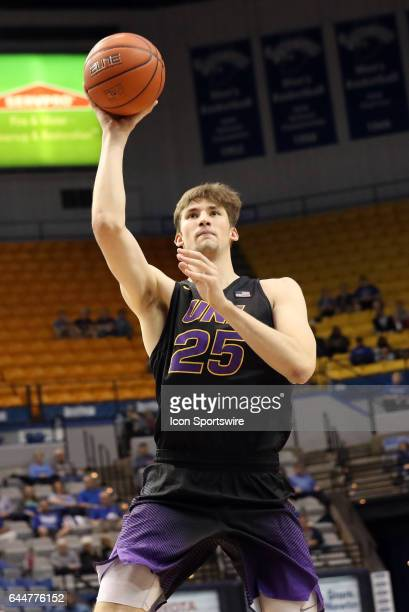 Northern Iowa Panthers forward Bennett Koch shoots a jump shot during the Missouri Valley Conference game against the Indiana State Sycamores on...