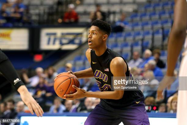 Northern Iowa Panthers guard Isaiah Brown holds on to the ball during the Missouri Valley Conference game against the Indiana State Sycamores on...