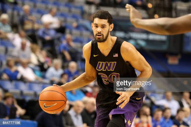 Northern Iowa Panthers guard Jeremy Morgan dribbles the ball during the Missouri Valley Conference game against the Indiana State Sycamores on...