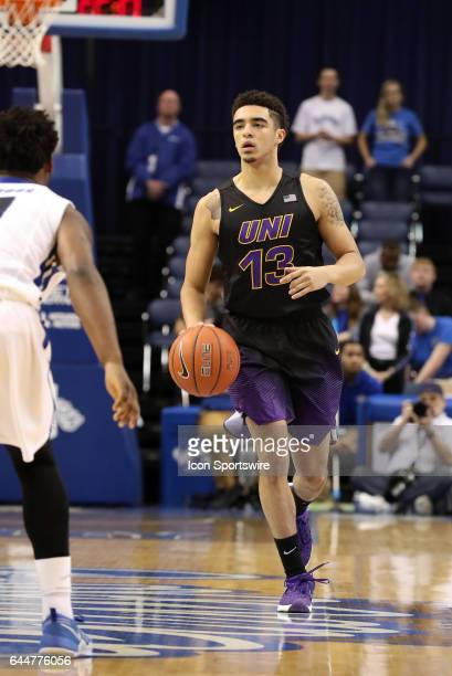 Northern Iowa Panthers guard Juwan McCloud dribbles the ball during the Missouri Valley Conference game against the Indiana State Sycamores on...