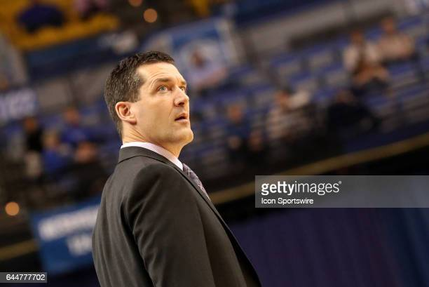 Northern Iowa Panthers Head Coach Ben Jacobson looks on during the Missouri Valley Conference game against the Indiana State Sycamores on February 22...