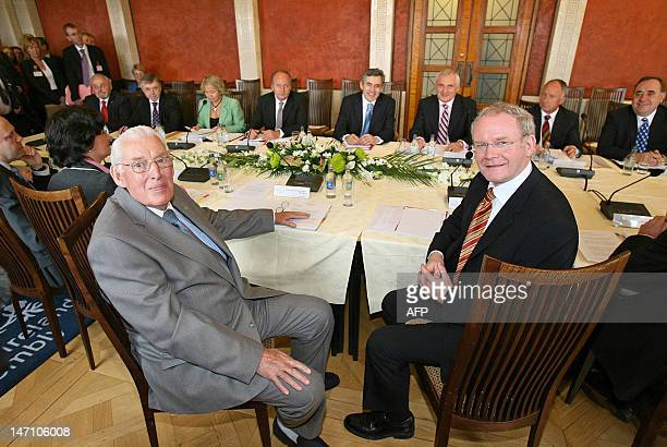 Northern Ireland Deputy First Minister Martin McGuiness Northern Ireland First Minister Dr Ian Paisley Britain's Prime Minister Gordon Brown and...