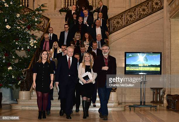 Northern Ireland Deputy First Minister Martin McGuinness and Sinn Fein President Gerry Adams lead the Sinn Fein delegation at Stormont on December 19...