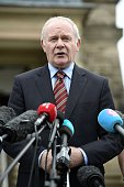 Northern Ireland deputy first minister Martin McGuinness holds a press conference after a meeting with Prime Minister Theresa May at Stormont on July...