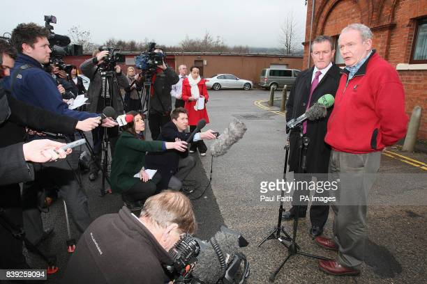 Northern Ireland Deputy First MinisterMartin McGuinness with Regional Development Minister Conor Murphy speak to the media in Belfast as tens of...