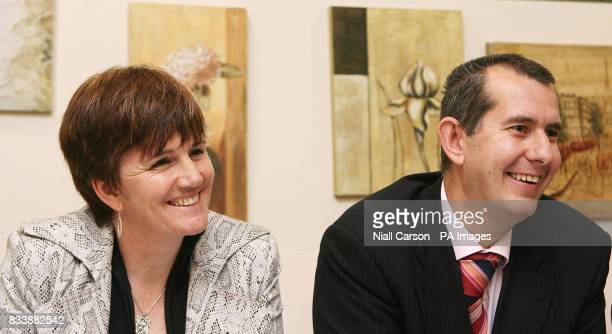 Northern Ireland Education minister Catriona Ruane and Culture Minister Edwin Poots speaking at their first NorthSouth ministerial council meeting on...