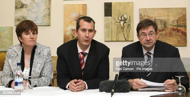 Northern Ireland Education minister Catriona Ruane and Culture Minister Edwin Poots with Ireland's Gaeltacht minister Eamon O'Cuiv speaking at their...