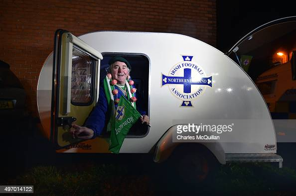 Northern Ireland fan pictured in his customised two berth caravan parks up before the international football friendly between Northern Ireland and...