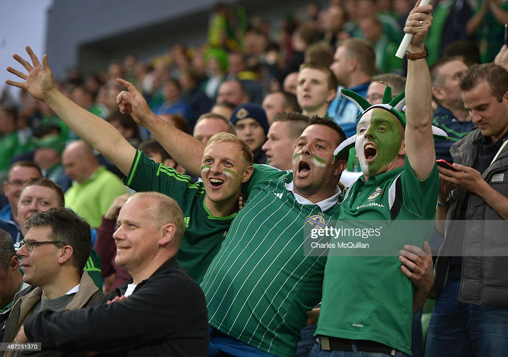Northern Ireland fans after the Euro 2016 Group F qualifying match between Northern Ireland and Hungary at Windsor Park on September 7, 2015 in Belfast, Northern Ireland.