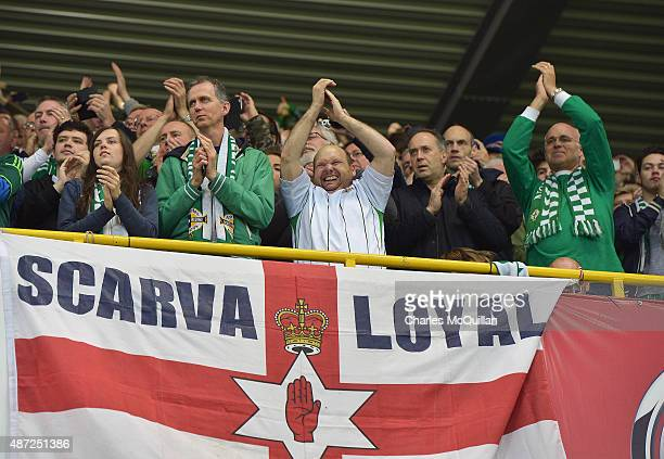 Northern Ireland fans after the Euro 2016 Group F qualifying match between Northern Ireland and Hungary at Windsor Park on September 7 2015 in...