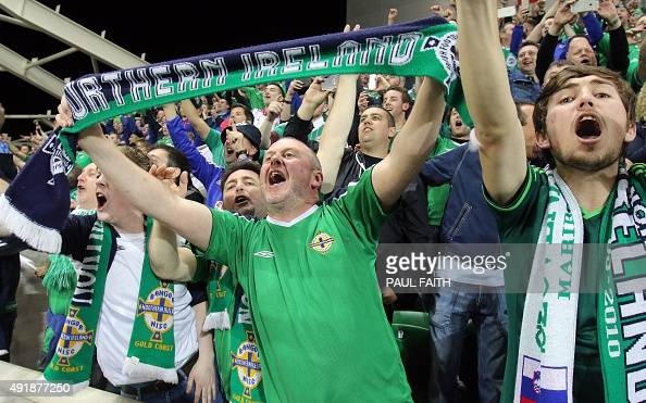 Northern Ireland fans celebrate after Northern Ireland won the UEFA Euro 2016 qualifying Group F football match between Northern Ireland and Greece...