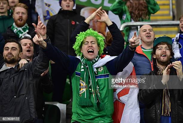 Northern Ireland fans during the FIFA 2018 World Cup Qualifier between Northern Ireland and Azerbaijan at Windsor Park on November 11 2016 in Belfast...