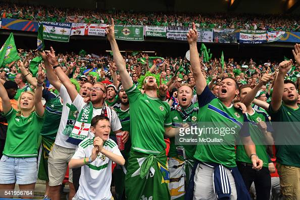 Northern Ireland fans during the UEFA EURO 2016 Group C match between Northern Ireland and Germany at Parc des Princes on June 21 2016 in Paris France
