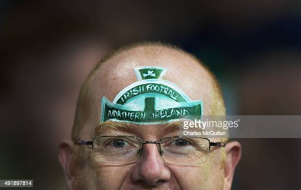 Northern Ireland fans during this evenings Euro 2016 Group F international football match at Windsor Park against Greece on October 8 2015 in Belfast...