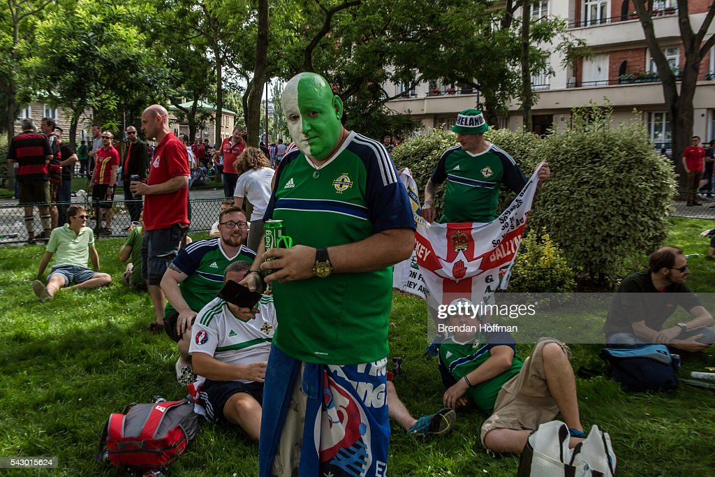 Northern Ireland fans prepare to watch the football match between Wales and Northern Ireland during UEFA Euro 2016 tournament on June 25, 2016 in Paris, France. The two teams met in the Round of 16 at Parc des Princes in Paris, where Wales won 1-0.