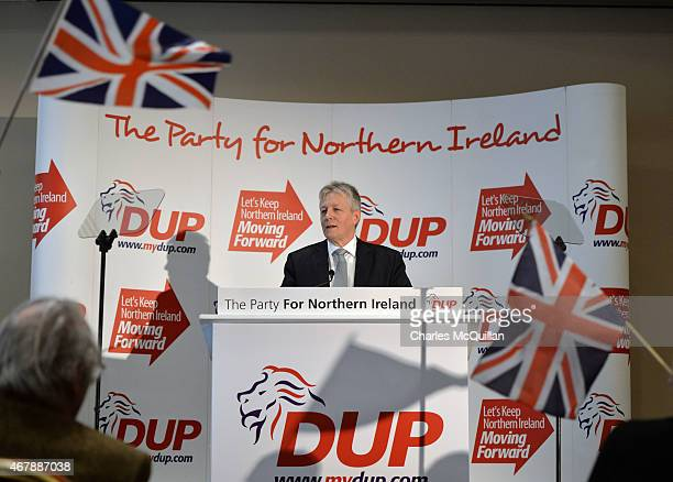 Northern Ireland First Minister and DUP leader Peter Robinson gives his keynote speech at the Democratic Unionist Party Spring Conference on March 28...