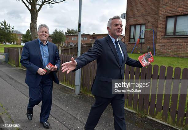 Northern Ireland First Minister and DUP leader Peter Robinson out canvassing in support of DUP south Belfast candidate Jonathan Bell on May 6 2015 in...