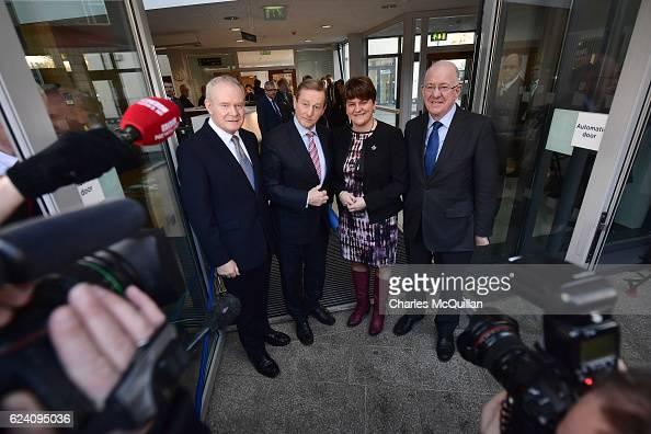 Northern Ireland First Minister Arlene Foster and Deputy First Minister Martin McGuinness greet Irish Taoiseach Enda Kenny and Irish Foreign Affairs...