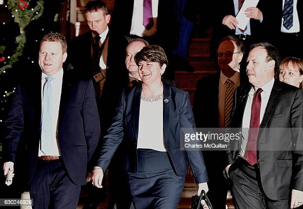 Northern Ireland First Minister Arlene Foster arrives with party members at Stormont on December 19 2016 in Belfast Northern Ireland First Minister...