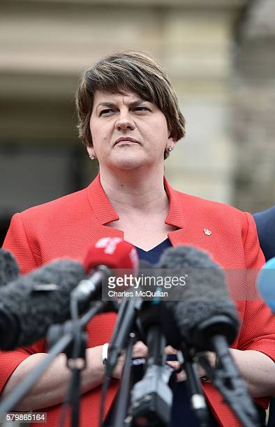 Northern Ireland first minister Arlene Foster holds a press conference after a meeting with Prime Minister Theresa May at Stormont on July 25 2016 in...