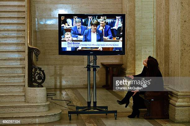 Northern Ireland First Minister Arlene Foster is seen on a television broadcast as she addresses a motion to remove her from her post by the Northern...