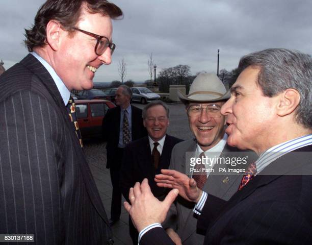 Northern Ireland First Minister David Trimble meets the American ambassadors to the UK and Ireland Phillip Lader Michael Sullivan respectively James...