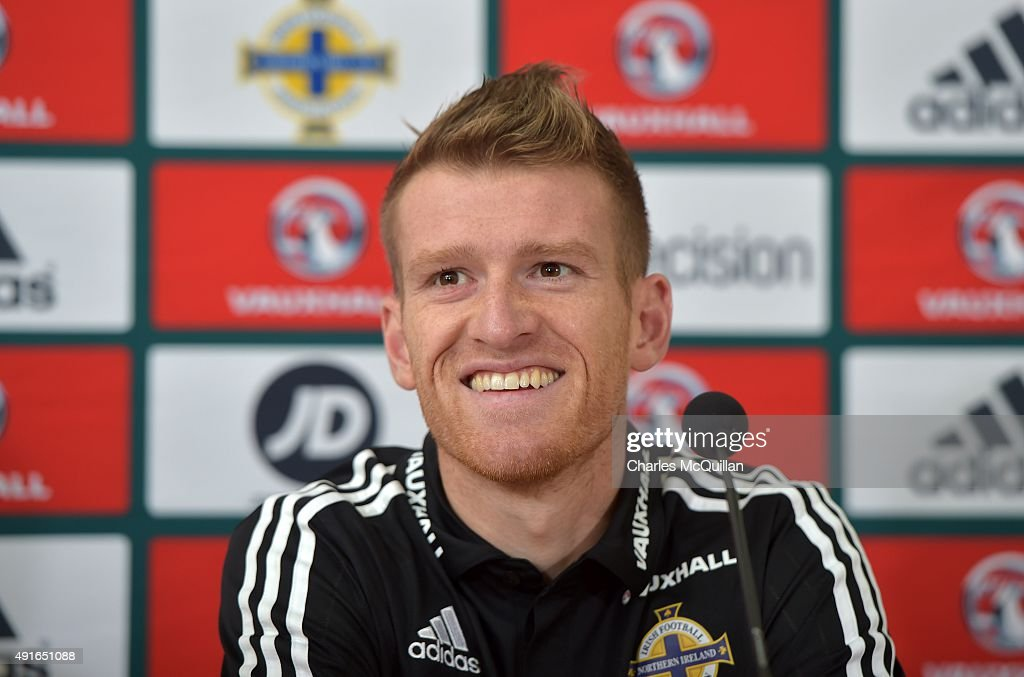 Northern Ireland football captain Steve Davis holds a press conference at Windsor Park on October 7, 2015 in Belfast, Northern Ireland. Northern Ireland host Greece in a Euro 2016 Group F game at Windsor Park on Thursday evening.