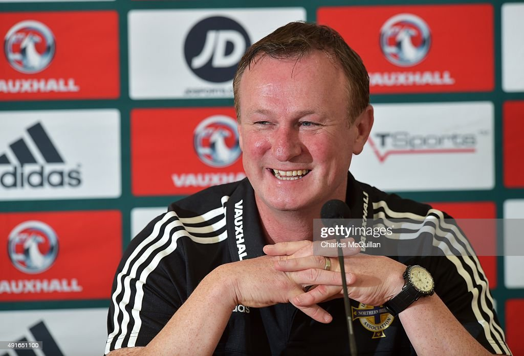 Northern Ireland football manager Michael O'Neill holds a press conference at Windsor Park on October 7, 2015 in Belfast, Northern Ireland. Northern Ireland host Greece in a Euro 2016 Group F game at Windsor Park on Thursday evening.
